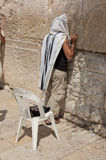 Man praying at western wall Royalty Free Stock Photo