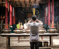 Man Prays, Buddhist Pagoda, Vietnam Royalty Free Stock Photo