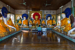 Man prays at the Shwedagon pagoda Royalty Free Stock Photo