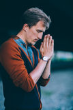 Man prays to God Royalty Free Stock Photography
