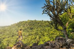 Man on a mountain in Paraguay. Man at the precipice of a mountain in Paraguay Stock Photo