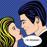 Man and pregnancy woman in vintage popart comic style Royalty Free Stock Image