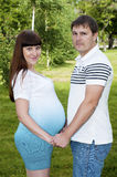 Man and a pregnant woman in the park Royalty Free Stock Images