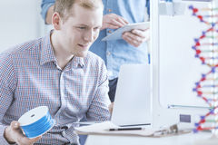 Man preoccupied with 3D printing Royalty Free Stock Photography