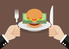 Man prepare to eat burger with money. Business concept Royalty Free Stock Photos