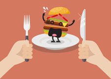 Man prepare to eat scared burger. Vector illustration Royalty Free Stock Photo
