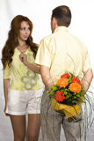 Man prepared bouquet. In gift woman royalty free stock photography