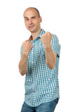 Man prepared to fight clench his teeth. Isolated on white stock photography