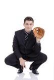 Man prepared to receive a ball stock photo