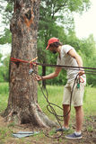 Man prepares the equipment fixes secures the rope to the tree Royalty Free Stock Images
