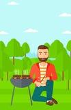 Man preparing barbecue. Royalty Free Stock Image