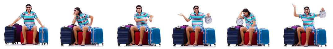 The man preparing for this summer vacation Stock Photos