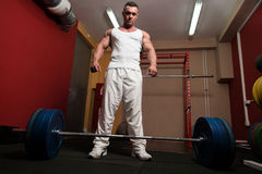 Man preparing to do deadlift Royalty Free Stock Photography