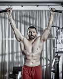 Man preparing to do pull-ups Royalty Free Stock Image