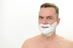 Man preparing to shave his beard Royalty Free Stock Images