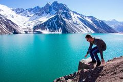 Time to relax and watch the Embalse el Yeso, Chile royalty free stock photo