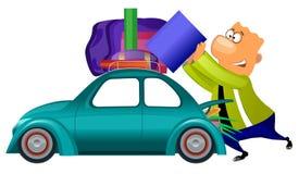 Man preparing to travel by car. Cartoon illustration of funny man preparing to travel by car Stock Images