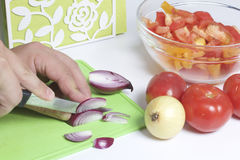 A man is preparing a vegetable salad. He cuts the onion on a cutting board. Royalty Free Stock Photos