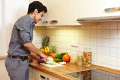 Man preparing vegetables Royalty Free Stock Image