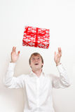 Man with present Stock Photos