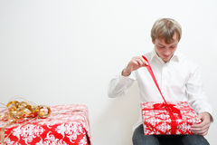 Man with present Royalty Free Stock Photography