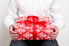 Man with present Royalty Free Stock Image