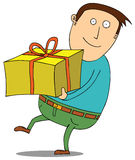 Man with present Stock Images