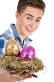 Man present a easter egg in bird nest Royalty Free Stock Images