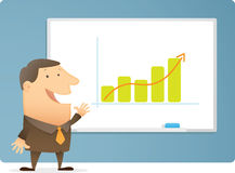 Man Presentation Bar Chart. On white board Stock Images