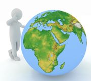 Man by presentation a globe Stock Image