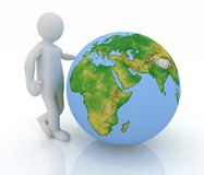 Man by presentation a globe Stock Image