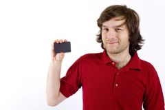 Man Presenting A Blank Card Royalty Free Stock Photos