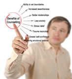 Benefits of Counselling. Man presenting Benefits of Counselling Royalty Free Stock Photography