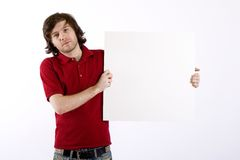 Man presenting a blank board Royalty Free Stock Images