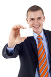 Man presenting blank card Stock Photo