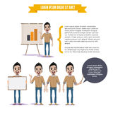Man with presenting board. graph chart in paperboard. character Royalty Free Stock Image