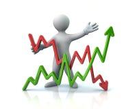 Man presenting business graph. 3d illustration Stock Photo