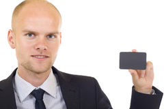 Man presenting card royalty free stock photos