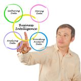Business intelligence. Man presenting components of business intelligence Stock Image