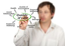 Diagram of Quality of Life. Man presenting Diagram of Quality of Life Stock Photography