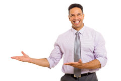 Man presenting empty space Royalty Free Stock Image