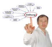 Factors affecting wellbeing. Man presenting Factors affecting wellbeing royalty free stock images