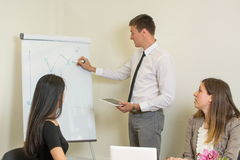 Man presenting on a flipchart. While colleagues listen Royalty Free Stock Photography