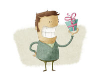 Man presenting a gift stock illustration