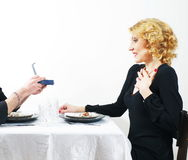 Man presenting  the gift Stock Images