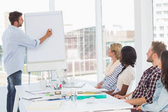 Man presenting an idea to his co workers Royalty Free Stock Photos