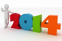 Man presenting new year 2014 Royalty Free Stock Images