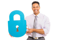 Man presenting padlock Royalty Free Stock Image