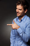 Man presenting or pointing Royalty Free Stock Photo