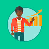 Man presenting report vector illustration. An african-american businessman pointing at increasing chart. Man giving business presentation. Business presentation Royalty Free Stock Photos